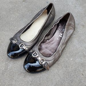Agl goat leather pewter and patent ballet flats